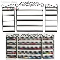Wholesale nail polish shelf rack - Wholesale- 5 Layers Hanging Wrought Iron Art Nail Polish Wall Rack Display Stand Storage Holds Shelf Hold 170 Bottles 31 Free Shipping