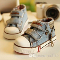 Wholesale Denim Canvas Shoes Boy - New 2016 Canvas Children Shoes Casual shoes Boys Kids Shoes for Girls Baby Jeans Denim Flat Boots Free shipping lot drop shipping