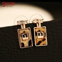 Wholesale High Quality Perfume Women - 2016 brand stud earrings for women high quality Leopard perfume letter 5 stud earring 18k gold plated wholesale sales ER00417