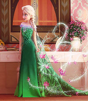Wholesale Christmas Grass Ribbon - Fashion Good Quality Princess dresses Elsa Anna Frozen Ball Gown Cosplay Kids Birthday Party Gifts Lovely Organza Green Floor Length Dress