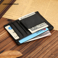 Wholesale Side Bags Men - Wholesale-2016 New Genuine Leather Card Bag Holder Men Women Double Sided Ultra-Thin Money Cash Clip Black Billfold Clamp for ID Bank Card