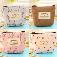 Wholesale Small Flower Car - Soft Canvas wallet Cute Flower Small Coin Purse Key Car Pouch Little Money Bag,Girl's Lifestyle Women Cheapest Mini Short Coin BY DHL