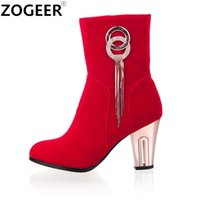Plus Size 43 New 2017 Spring Sexy Women Botas Luxo Tassel Thick High Heel Ankle Boot Moda Preto Red Wedding Shoes Mulher