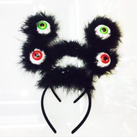 Wholesale Eye Hair Band - Novelty Horrible Hair Band Glowing In The Dark Plastic Head Hoop Halloween Plastic Big Eyes Headband 3 45fy B R