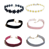 Wholesale Choker Chain Necklaces - Lace Velvet Choker Necklaces for Women with Pendant Charm 12inches Black White Silver Pink Claret