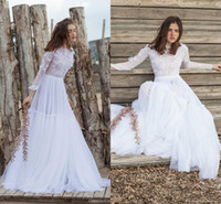 Wholesale See Through Top Wedding Dresses - Pure White 2016 Lace Wedding Dresses Christos Costarellos Long Sleeve See Through Top Bohemian Beach A Line Tulle Bridal Gowns Newest