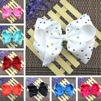Wholesale Gift Ribbon Dots - 2017 girls kids hair bows Princess Bowknot Ribbon cheer bows Clips 8 inch large ribbed hair accessories Christmas Halloween gifts