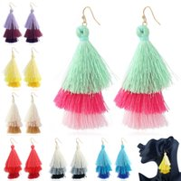 Boucles D'oreille Pas Cher-Bohemian Ethnic Wind Populaire Multi Layered Colorful Womens Stylish Earrings Tassel Drop Earrings 7 Styles Fashion Gift B982Q
