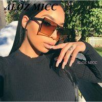 lunettes oversize achat en gros de-ALOZ MICC Marque Designer Femmes Carré lunettes de Soleil Unique Oversize Shield UV400 Gradient Vintage Lunettes Cadres Pour Femmes A014