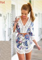 Wholesale Half Sleeve Chiffon Blouse - Sale Women Dresses Sexy Lace Crochet Boho Floral Chiffon Shirt Vintage Blouse Half Sleeve Summer V Neck Sundress Casual Beach Dress SV019268