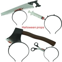 Wholesale Safe Cans Wholesale - Halloween Horror Props Plastic Products Very Safe Adult Children Can Use,Saws,ax,Scissors,Syringes,Hair band fixed.