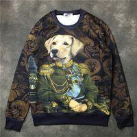 Wholesale Dog Long Sleeve - 2017 Hot Sales brand men Hoodies Casual sports Long sleeve court style sweatshirt zoology dog printing men women individuality Sweater