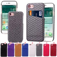 Wholesale Pocket Fishing Scale - Credit Cards Slot Hybrid Leather Case For Iphone 7 Plus I7 Iphone7 Veneer Gluing Fashion Fish Scale Grain PC Hard Phone Skin Cover 50pcs