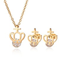 Wholesale Golden Crown Necklace - New Fashion Women Jewelry Stainless Steel Crystal Jewelry Set Crown And Cross Pendant Necklace Earrings Set For Christmas Gift