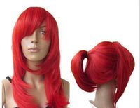 Wholesale Long Dyed Red Hair - Wig can hot dye>>>>Heat Resistent Long red Straight Cosplay Party Hair Wig