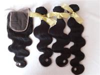 ingrosso chiusura dei capelli 3pcs-Capelli umani dell'onda del corpo dell'onda vietnamita e chiusure Fasci di capelli neri neri 3pcs con chiusure G-EASY