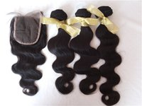 cuerpo vietnamita pelo onda al por mayor-El cabello humano vietnamita de la onda del cuerpo teje y cierra los paquetes naturales del pelo 3pcs negro con los cierres G-EASY