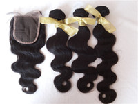 vietnamca saç toptan satış-Vietnamca Vücut Dalga İnsan Saç Örgüleri Ve Kapaklar Doğal Siyah Kapatma ile 3 adet saç paketler G-EASY