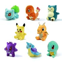 "Wholesale Pokemon Dragonite Toy - 8 style Poke Mini mewtwo Figure Plush Doll Toy 5.5"" Pikachu Charmander Gengar Bulbasaur Suicune Dragonite Snorlax Figure Toy Gift"
