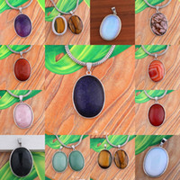 Wholesale Ellipse Necklace - Wholesale 10Pcs Fashion Miscellaneous Druzy Quartz Crystal Stone Silver Plated Ellipse Shape Beads Pendulum Pendant Charm Jewelry