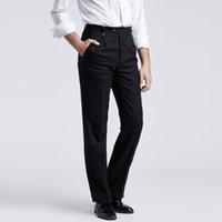 Wholesale Separate Legs - Wholesale-Royal Suit Black Formal Business Trousers with Pinstripe Single Pleats Straight Leg Pants Office Separate Pants