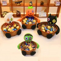Wholesale Wholesale Candy Bins - 1Pcs New Candy Holloween Holder Storage Boxes Smile Bamboo Pumpkin Bucket Basket Halloween Party Decor Fruit Bowl Bins Container