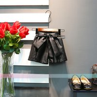 Wholesale Leather Shorts Elastic Waist - Autumn Winter New 2017 Leather Girls Shorts bows Leather pants Fashion Children Shorts kids Pants Kids Clothing Toddler Clothes A1158