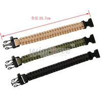 Wholesale Green Survival Bracelet - 3 Colors Paracord Parachute Cord Emergency Survival Bracelet Rope with Whistle Buckle Olive Green Black Khaki