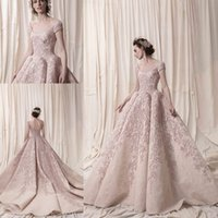 Wholesale short wedding dresses krikor resale online - Arab Dubai Short Sleeves Ball Gown Heavily Embroidery Wedding Dresses Krikor Jabotian Bridal Scoop Neckline Wedding Gowns