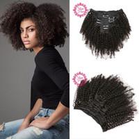 extensions de cheveux afro-américains noirs achat en gros de-Cheveux vierges afro-américains mongol afro kinky cheveux bouclés clip dans les extensions de cheveux humains naturels noirs clips ins