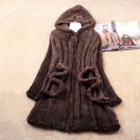 Wholesale Knitted Mink Coat Hood - BF FUR Winter Lady Fashion Genuine Natural Knitted Mink Fur Coat Jacket With Hood Women's Fur Outerwear Coats Garment BF-C0117
