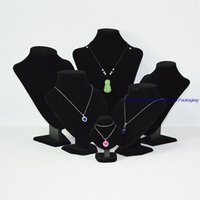 Wholesale Retail Necklace Display - Free Shipping Retail Small Wood Chest Jewelry Mannequin Display Stands for Necklaces Holder Bust Black Velvet 11CM Height