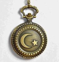 Wholesale Quartz Pocket Watch Moon - Wholesale- Antique Bronze Muslim Turkish Flag Design Moon Star Circle Quartz Pocket Watch Necklace Clock Pendant With Chain Men Women Gift