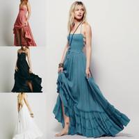 mini pembe plaj elbisesi toptan satış-Halter Şifon Uzun Bohemian Yaz Plaj Elbiseleri Backless Parti Gelinlik Modelleri Beyaz Pembe Mavi gri ve siyah