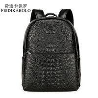 Wholesale leather fashion backpack vintage - FEIDIKABOLO Fashion PU Crocodile Men's Backpack Male Leather Backpacks High Quality Student Bag Men Rucksack Bagpack mochila