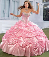Wholesale Sweetheart Ruffled Taffeta - 2016 New Princess Quinceanera Dresses Sweetheart Crystal Beads Ruffles Taffeta Pink Sweet Sixteen 16 Girl Prom Party Special Occasion Gowns