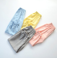 Wholesale Loose Pants For Kid Girls - Baby Kids Clothing Summer Girl Solid Color Pants Casual Pants For 1~7 Years Kids 5 P l