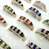 Wholesale Gold Plated Rings Bulk - Fashion Full Czech Rhinestones Mixed Color Gold Plated Rings for Women Wholesale Bulk Jewelry Lots LR354 Free Shipping