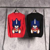 Wholesale Teddy Bear Winter - 2017 Winter fashion Men clothing sweater Mens Male Brand sweater Black knit Sweatshirts Transformers teddy bear Digital printing Men cloth