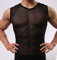 Wholesale Transparent V Neck Men - Wholesale-Free shipping!Men's lingerie underwear solid tank top White gauze man transparent sleeveless v-neck tight vest mesh tank top