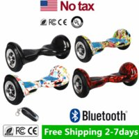 Wholesale Remote Skateboard - USA Stock Drop Shipping 10 inch Two Wheels Self Balancing Wheel Smart Hoverboard Bluetooth Speaker Remote Electric Skateboard LED Scooters