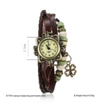 Bracciale in lega d'epoca di Infinity Bangle Knitting Leafs Perline Corda Corda Multilayer Faux Leather Watch Quartz Watch Bracciale per le donne