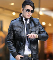 Wholesale Led Leather Jacket - New winter men's Slim leather jacket men plus velvet thickening motoodezhda lead singer dress costumes  M-3XL