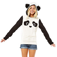 Wholesale Cute White Long Sleeve Sweater - New Pattern European Hippie Lovely Cute Panda Printing Catch Down Black And White Hit Color Ma'am Sweater Goods In Stock