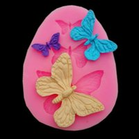 Новое прибытие Rushed Rubber Eco-friendly Mold Cupcake Diy Инструменты для выпечки Fondant Sugar Cake Bakeware Mold Three Butterfly Mold TY1774