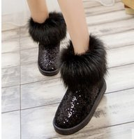 Wholesale Quilted Boots - Free shipping-2016 explosion models winter influx of thick scrub quilted snow boots round Lace boots women boots Fur boots 101204