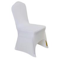silla cubre bodas para la venta al por mayor-100 piezas Universal de poliéster blanco Spandex Fundas para sillas de boda para bodas Banquete Hotel plegable Decoración Decoración Venta caliente al por mayor