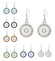 Shining Noosa Ohrringe Runde Snap Ohrringe Rhinestone Hoop Hook Ohrring Passend für 12mm Snap Buttons Austauschbare Jewerly F455L