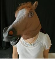 tüyler ürpertici tek boynuzlu kafa maskesi toptan satış-Daha fazla Stil Lateks At Maskesi Unicorn At Başkanı Maske Cadılar Bayramı Kostüm Partisi Prop Yenilik Kauçuk Ürpertici
