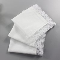 Wholesale women handkerchief cotton - Lace Handkerchiefs Square Cotton Draw Graffiti Diy Women Lady White Table for Banquet Pure Hankie Party Supplies Handkerchief Hand Towel